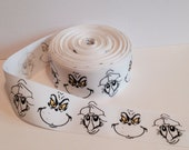"""1.5"""" Grinch Grosgrain on white by the yard"""