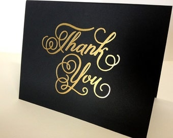 "Black ""Thank You"" Card, Gold Foil"