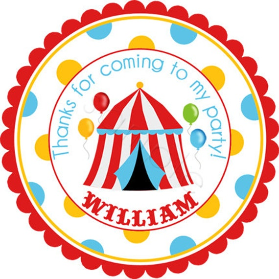 Personalized Big Top Circus Tent Stickers - Party Favor Labels, Address Labels, Birthday, Shower, Circus, Carnival - Wide Polka Dot Border