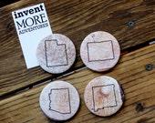 Four Corners - Recycled Fabric Magnets - Set of Four - Utah, Arizona, Colorado, New Mexico
