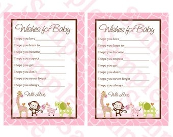 "Printable ""Jungle Jill Girl Animals"" Wishes for Baby Cards Instant Digital Download"