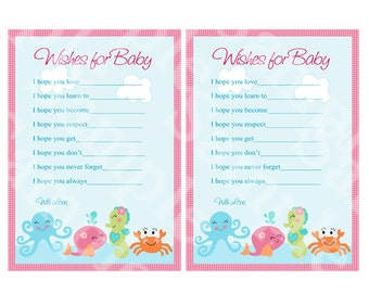 "Printable ""Under the Sea/Pink Whale"" Wishes for Baby Cards Instant Digital Download"