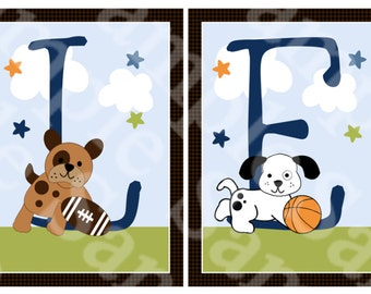 Unframed Bow Wow/Sport Puppy Dogs Letter Art  5x7 inch Linen Look Nursery Wall Art Prints Baby Children Kids Decor