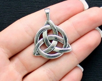 2 Celtic Knot Charms Antique  Silver Tone 2 Sided Large Size - SC1332
