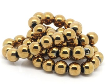 Hematite Gold Beads - 1 Strand 10mm - BD588