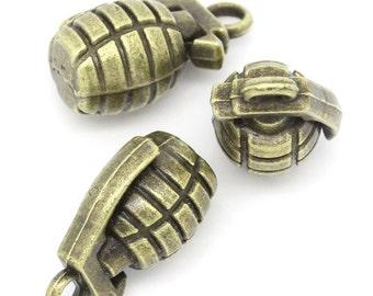 2 Grenade Charms Bronze Tone 3D Bomb Charm - BC801