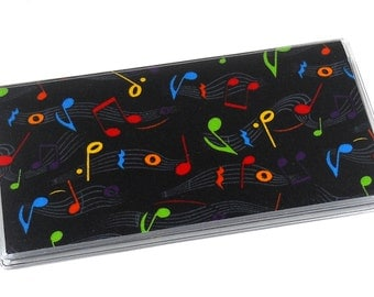 Checkbook Cover Neon Music Notes