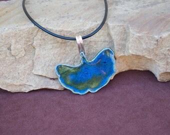 Blue/Green Gingko Leaf Necklace