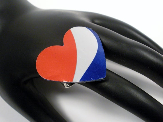 Heart Charm Ring made from a recycled Pepsi soda can.