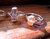Genuine Raw peach Topaz Crystal Specimen Ring Sterling Silver handmade mineral orange beryl tourmaline 4 5 6 7 8 9 10 half sizes unique odd