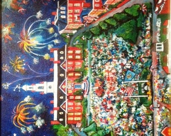 """Limited Edition Folk Art Print """"A fourth in the first""""  celebrating with Annual Fireworks in the First State Capital - Dover, Delaware"""