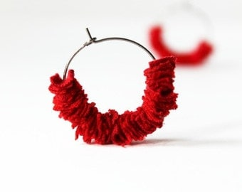 Recycled Jewerly Red Earrings by TrashN2Tees