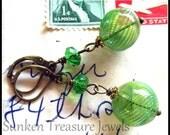 Handblown Green Art Glass Earrings, Downton Abbey Earrings, Glass Orbs, Art Deco Earrings in Handblown Green Glass, Emerald Glass