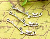 20PCS Of  10x39MM Antique Silver Charm Pendant,metal finding,pendant beads,jewelry findings,Connectors Bracelet,branch,bird