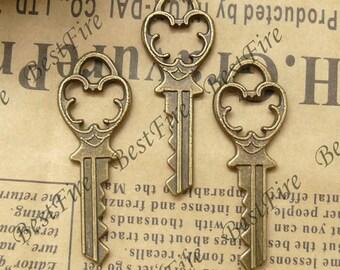 12PCS Of 14x38MM Antique Bronze Charm Pendant,metal finding,pendant beads,jewelry findings,key,Bracelet Connectors