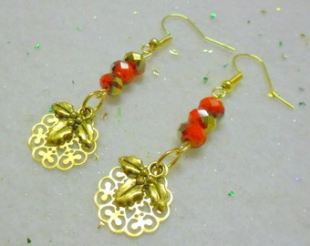 Lacey Filigree Holly Berry Earrings, Christmas Earrings