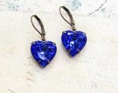 Dark Blue Earrings Heart Rhinestone Cobalt Sapphire Vintage Style Glass Glam Drop Love Bridal Wedding Something Blue Romantic Leverback