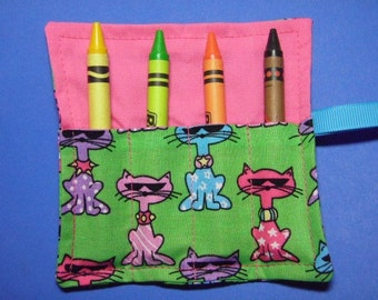 Mini Crayon Keeper 4-Count Roll Up Holder Party Favor - Cool Cats