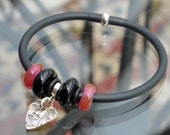 Rubber tubing Bracelet with large hole lampwork beads