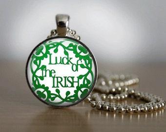 St Patrick's Day Necklace Glass Tile Necklace GlassTile Jewelry St Patricks Day Holiday Jewelry Silver Jewelry Silver Necklace