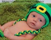 LEPRECHAUN EARLFAP SHAMROCK St Patrick's Day Crochet Hat Baby Newborn 0 3 6 12 Months 1T 2T 3T 4T Child Teen Adult