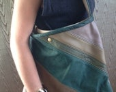 OOAK Pieced leather shoulder tote purse- hand made greens browns leather