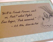 Friends Forever - Winnie the Pooh Quote - Classic Piglet and Pooh Note Card Mint Lace Border
