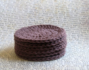Brown Scrubbies or Coasters (Set of 4)  100% Cotton