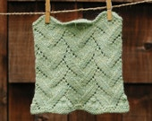 Hand knit cowl - wool and alpaca scarf in stem green