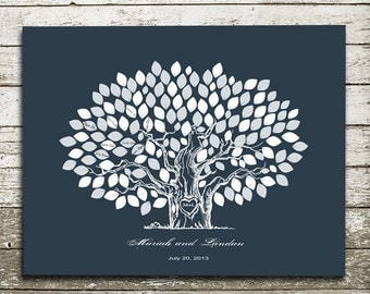 Wedding  Guest  Book. Chalkboard Guest Book  To Be Personalized With Guest's Signatures - 17x22 - 160 Signature Wedding Guest Book tree