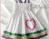 Colorful polka-dot dress for girls - White frilly dress - White and colored dots dress - Spring and summer dress - Birthday party dress