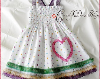 Colorful polka-dot dress for girls - White frilly dress - White and colored dots dress - Spring and summer dress - Birthday party dress