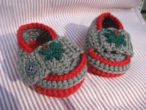 Gray and Red Crocheted Baby Loafers