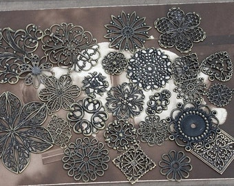 100PCS Mix Assortment Antique Bronze  plated RAW brass Filigree  Jewelry Connectors Setting Cab Base Connector Finding  (FILIG-B-MIXSS)