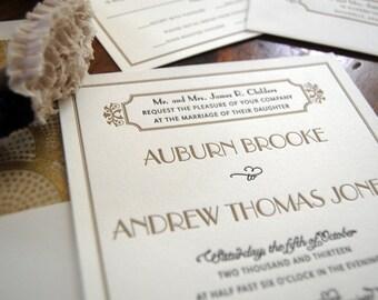 Letterpressed Wedding Invitations - Gatsby