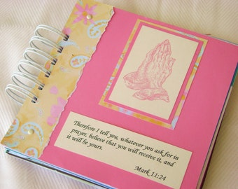 Faith inspirational mini book scrapbook album Bible verse scriptures journal