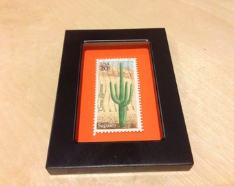 Cactus Art - Recycled postage stamp Framed art or Key Chain - Cactus stamp, cactus, saguaro, desert