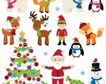 Christmas Clipart Clip Art, Christmas Animal Clipart Clip Art - Commercial Use