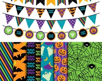 Halloween Scrapbook Paper and Bunting Clipart Clip Art, Great for Halloween Decor or Decorations - Commercial Use
