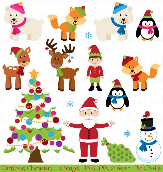 Christmas Clipart Clip Art, Christmas Animal Clipart Clip Art - Commercial Use