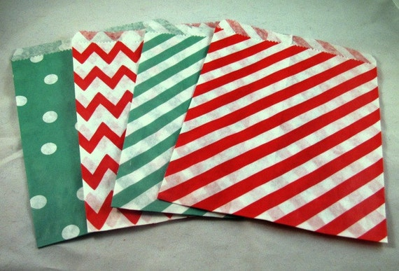 24 Christmas Treat Bags/Favor Bags/Red and Green, Chevron, Dot, Stripes