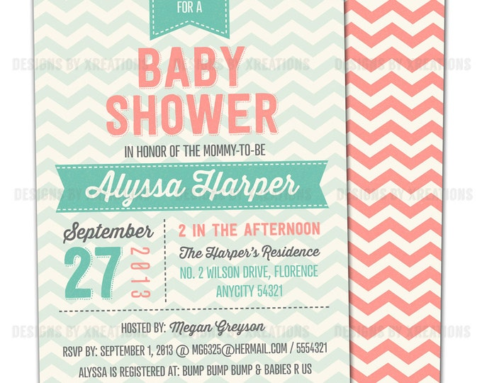 Chevron Invitation in Coral and Mint for Birthdays, Baby Shower, Bridal Shower - Customizable Texts - Print Your Own