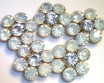 Five 2 Hole Slider Beads 2 Hole Spacer Beads Large White Opal & Clear Rhinestone Flowers In Gold Floral Garden Botanical Flower Beads