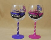 Thelma and Louise Hand Painted Wine Glass Set!