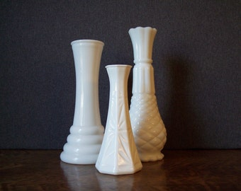 Vintage Milk Glass Bud Vase Trio Collection