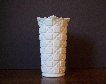 Vintage Milk Glass Large Vase by Westmoreland Glass Old Quilt Pattern