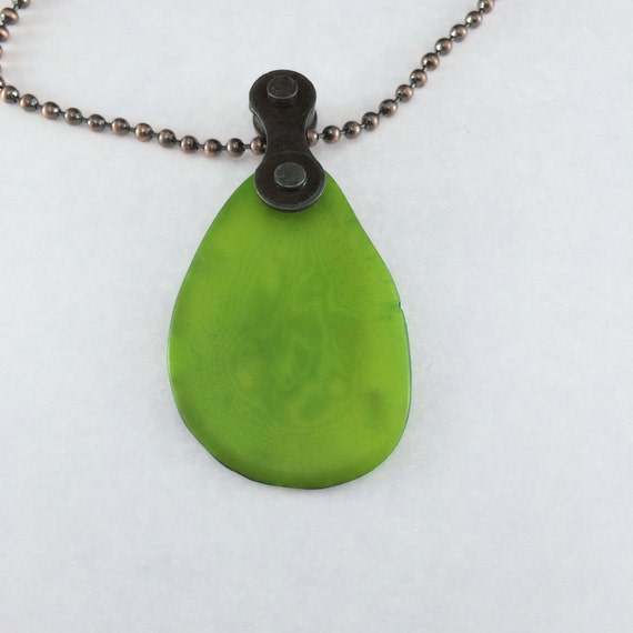 Lime Green Tagua Nut bicycle chain jewelry