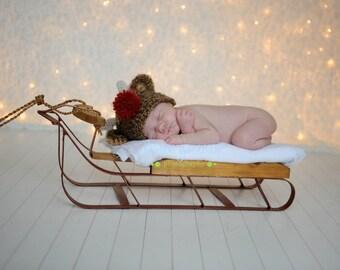 Newborn Christmas Hat, Baby Reindeer Hat, Newborn Reindeer Hat,  Newborn Baby Crochet Hat  PHOTO PROP