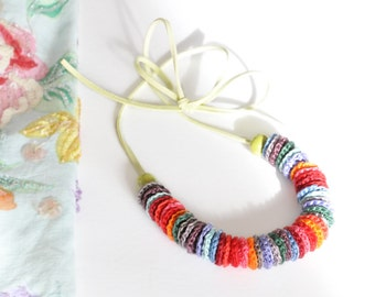 Crochet  Necklace - Statement Necklace - Fabric Necklace - Bohemian Necklace - Leather Necklace - Autumn Necklace