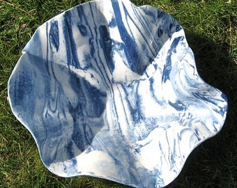 Fruit Bowl - Modern Pottery Serving Bowl - Cobalt Blue and White Marbled Handmade Stoneware Pottery - Agateware Pottery